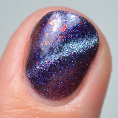 blue to purple magnetic multichrome nail polish single finger swatch