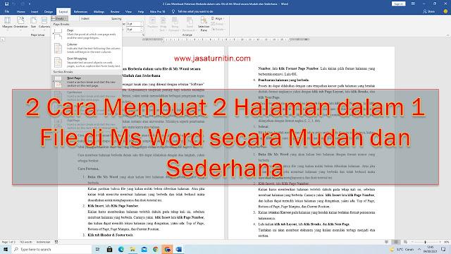 2 Cara Membuat 2 Halaman dalam 1 File di Ms Word secara Mudah dan Sederhana