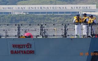 INS Sahyadri  passing Subic Bay International airport, Philippines