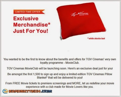 TGV Cinemas Pillow Blanket Edisi Terhad