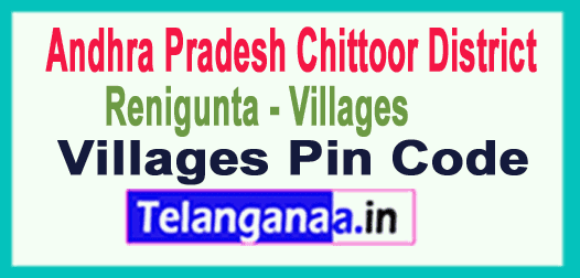 Chittoor District Renigunta Mandal and Villages Pin Codes in Andhra Pradesh State