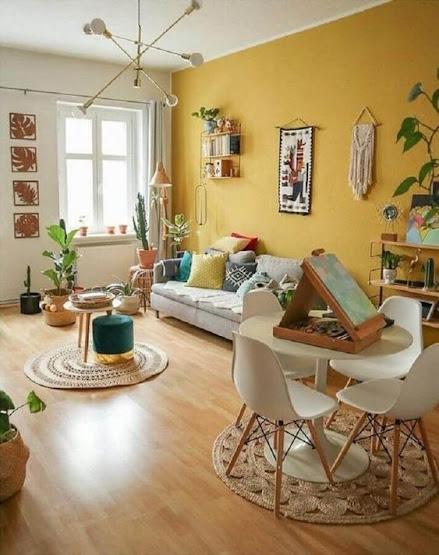 yellow walls, living room