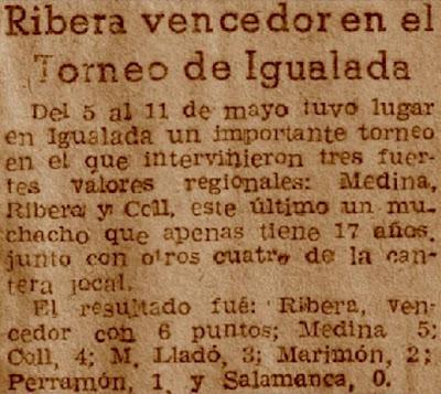 Nota aparecida en la prensa sobre el I Torneo Regional de Igualada 1952