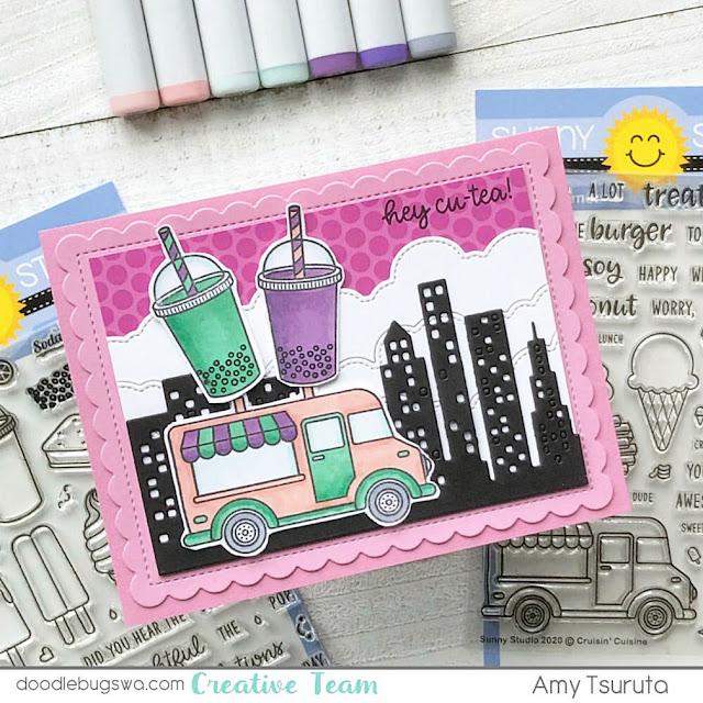 Sunny Studio Stamps: Cruisin' Cuisine Summer Sweets Customer Card by Amy Tsuruta