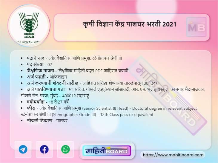 KVK Palghar Bharti 2021