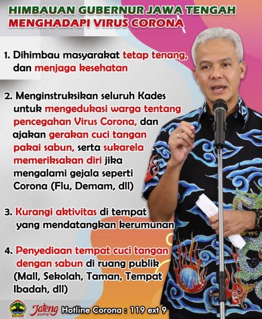 4 Imbauan Gubernur Jateng dalam Menghadapi Virus Corona/Covid-19