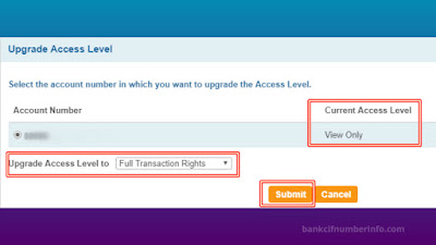 Select access level and Submit