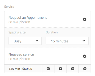 Appointment with 2 services and 1 spacing