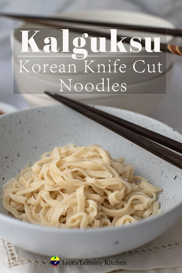 This handmade knife cut noodle is also know as Kalguksu in Korea. Excellent to serve with either hot or cold soup.