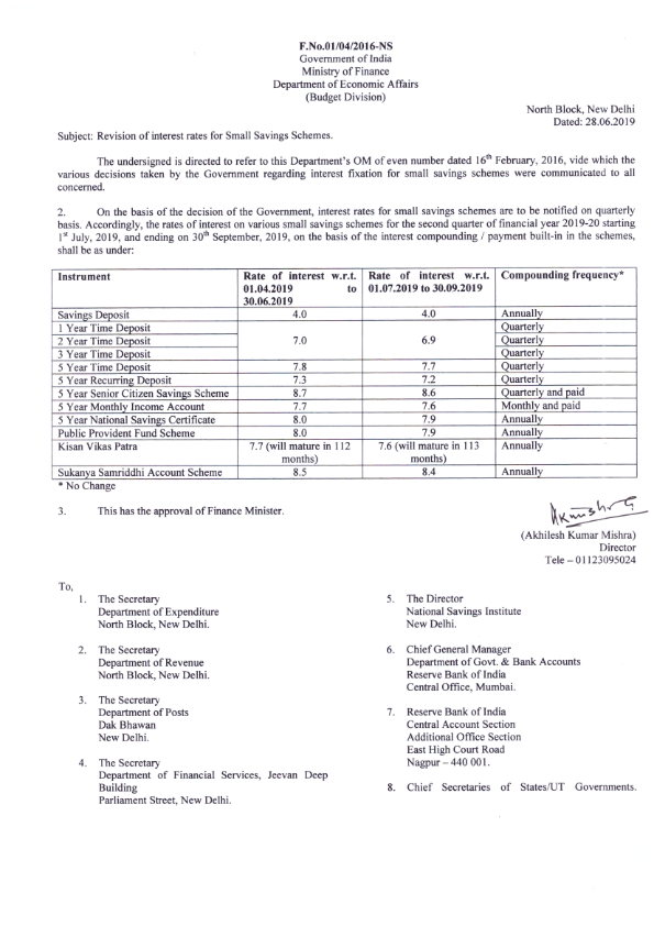 Revised Interest Rate Of POSB Scheme w.e.f July 2019