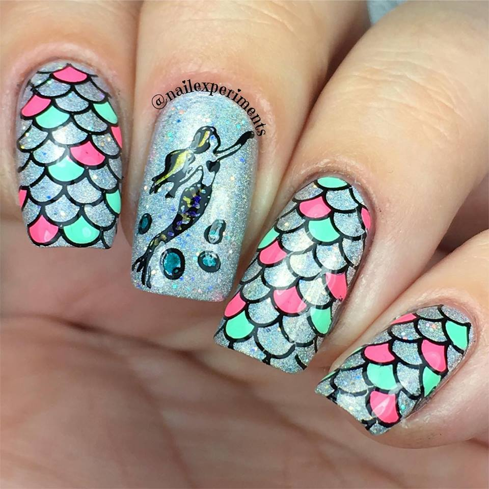 Mermaid Scale Reverse Stamping Nail Art Holographic Neon Pastel