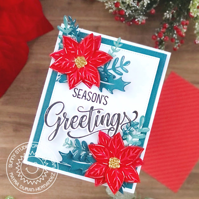 Sunny Studio Stamps: Pristine Poinsettia Winter Greenery Season's Greetings Winter Holiday Card by Mayra Duran-Hernandez