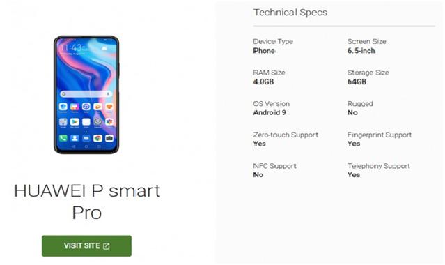 مواصفات Huawei P smart Pro التي كشفت عنها قائمة المؤسسات