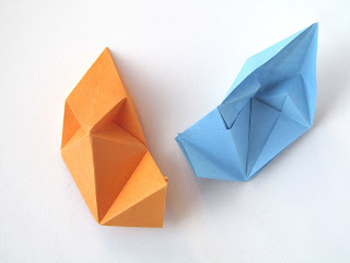 Origami modulo Stella aquilone - Kite Star, top view - back view