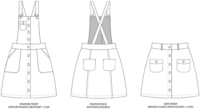 Bobbi skirt and pinafore sewing pattern - Tilly and the Buttons
