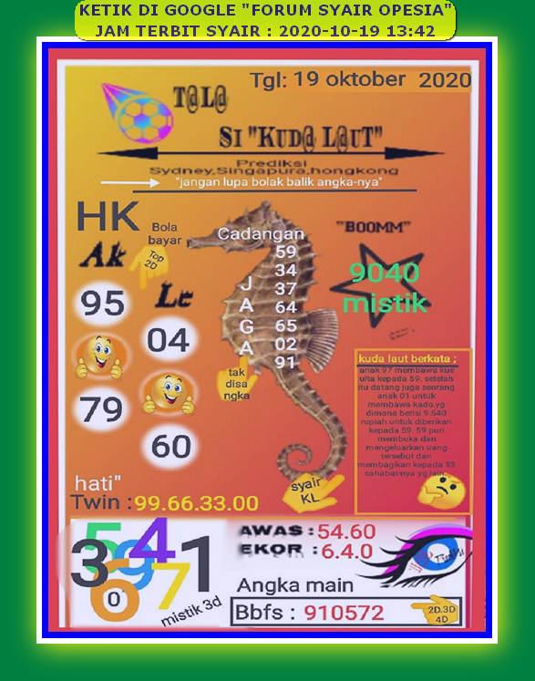 Kode syair Hongkong senin 19 oktober 2020 135
