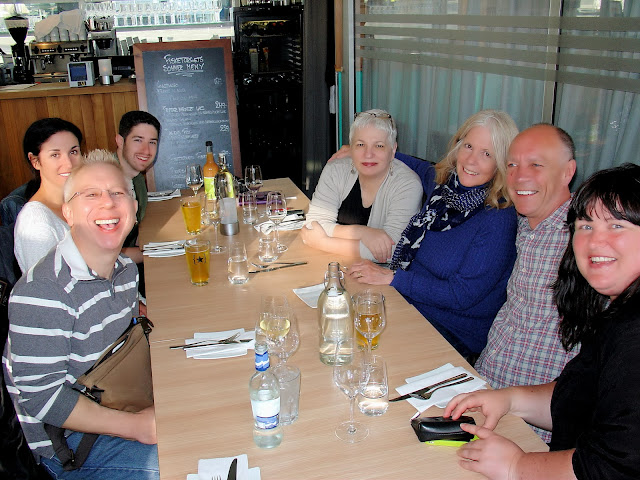 Visit Norway explorers at dinner on our first night in Stavanger. L to R: Me, Laura Kiniry, Joseph Pedro, Darlene Dubé, Susan Kime, our fearless leader Harald Hansen and Stavanger's best: Gunhild Vevik.