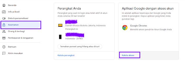 Menghapus aplikasi pihak ketiga di akun google