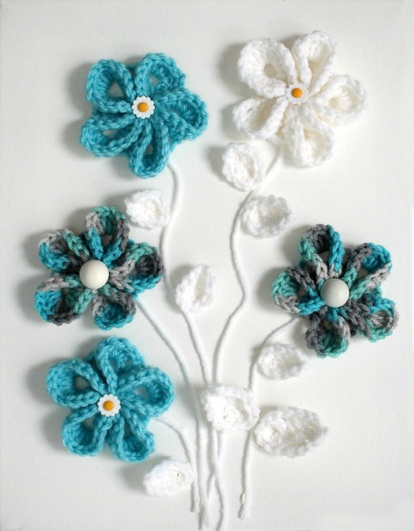 Pretty crochet flowers for all kinds of projects. Wall art or embellishing hats beanies & Easy Springtime Crochet Flower Wall Art | Grateful Prayer | Thankful ...