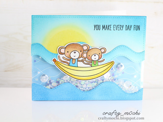 Soak up the Fun stamp set and Die-namics, Whimsical Waves Background stamp, and Stitched Whimsical Waves Die-namics  - Gladys/crafty_m0chi #mftstamps