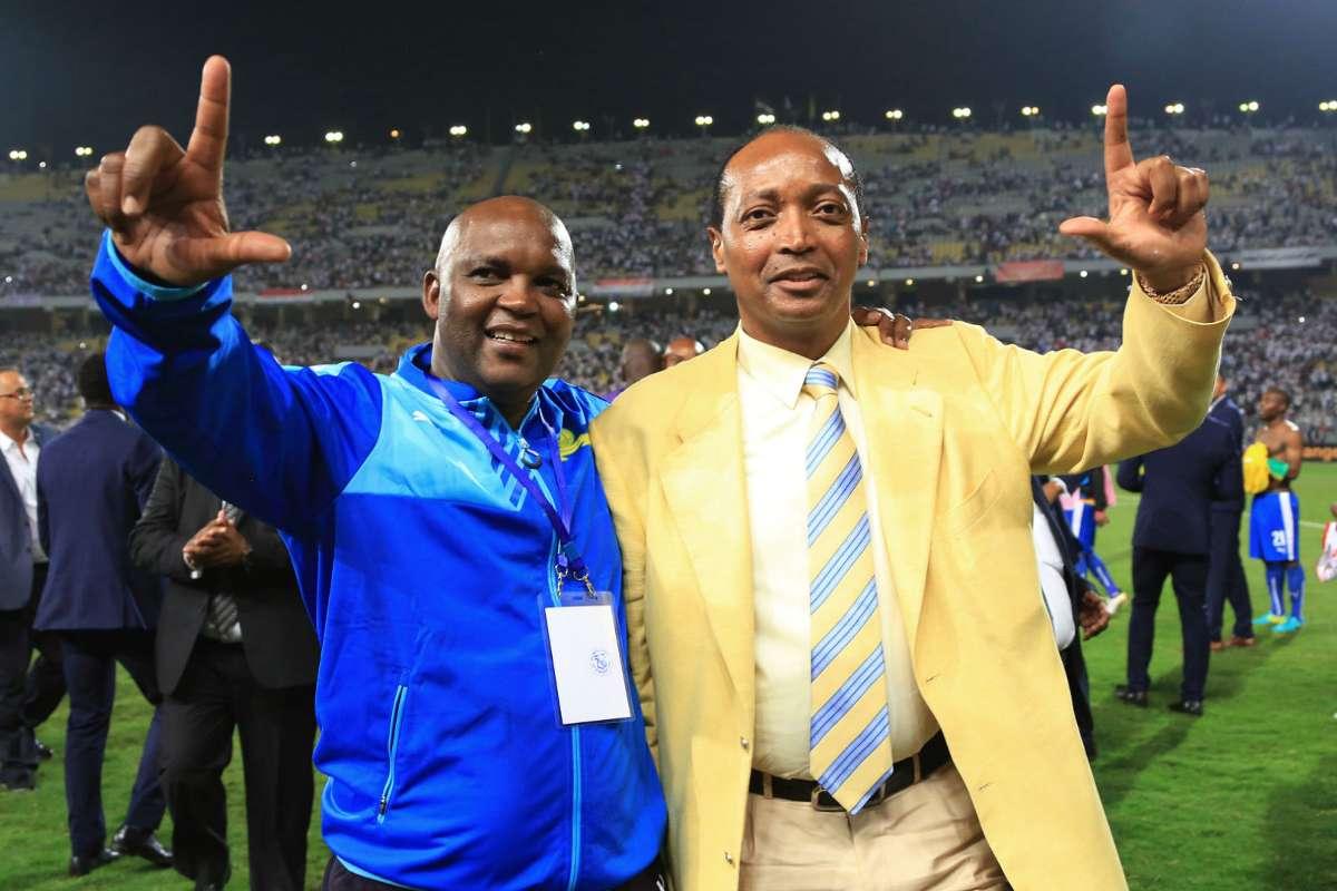 Pitso Mosimane and Patrice Motsepe celebrate Sundowns league victory