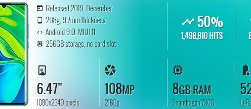 Spesifikasi: Xiaomi Mi Note 10 Pro