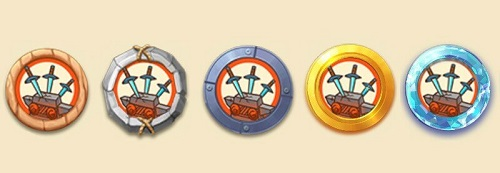 Mỗi huy hiệu lại có từ 3 đến 5 cấp độ không giống nhau