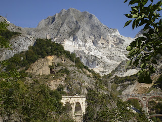 The mountains above Carrara are famous for the blue-grey marble used for many buildings in Italy and worldwide