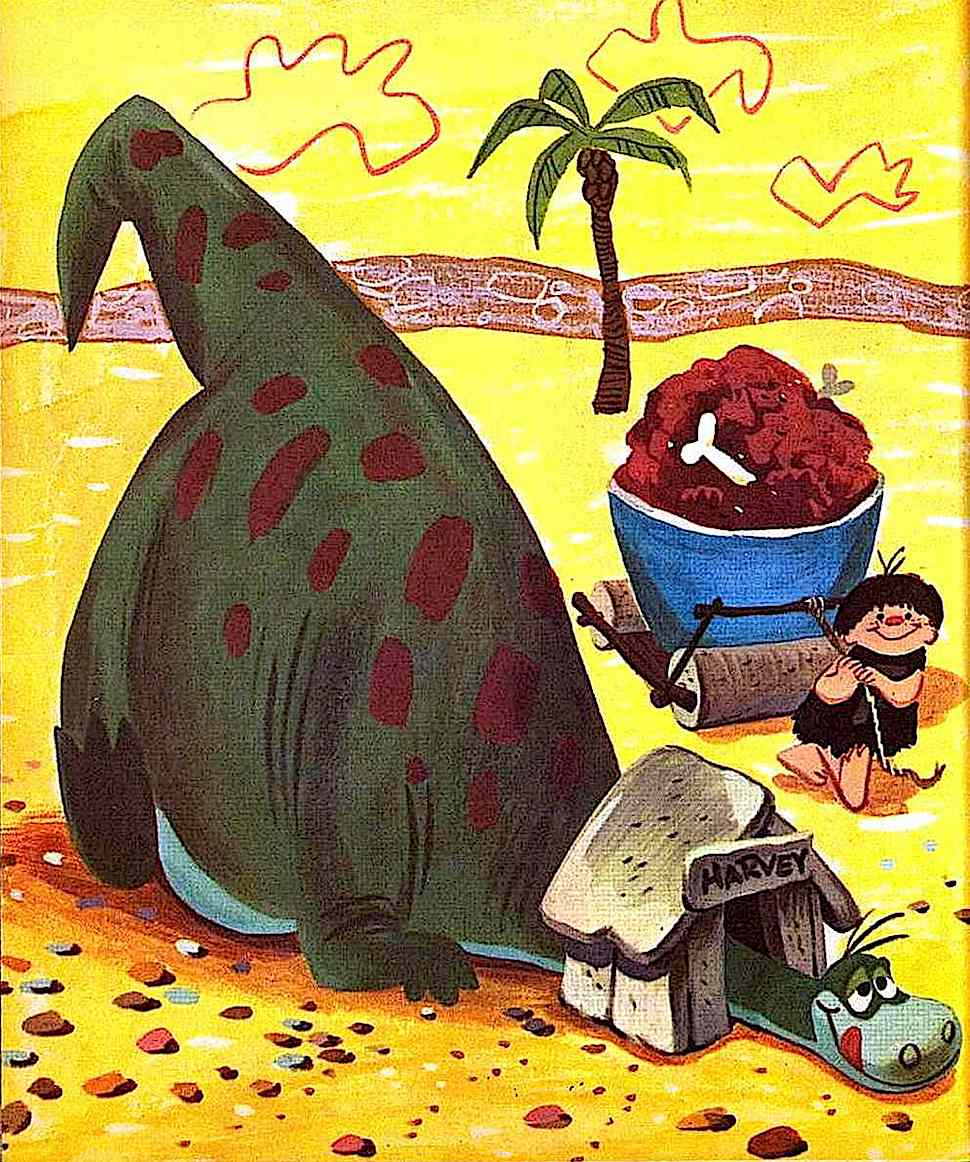 a Mel Crawford children's book illustration of a dinosaur pet Harvey and a boy