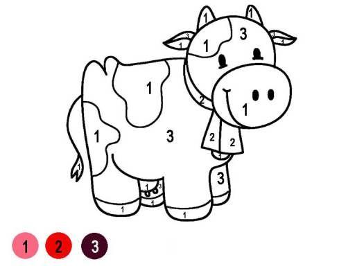 Hình tô màu con bò theo số