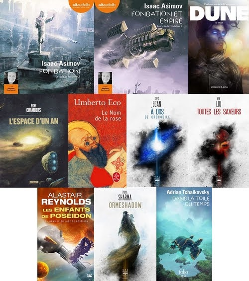 Couvertures des livres lus en juillet-août