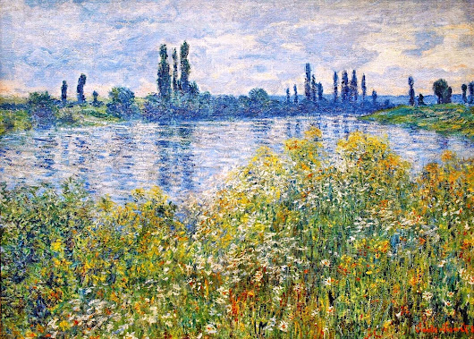 Claude Monet: Flowers on the bank of Seine near vetheuil
