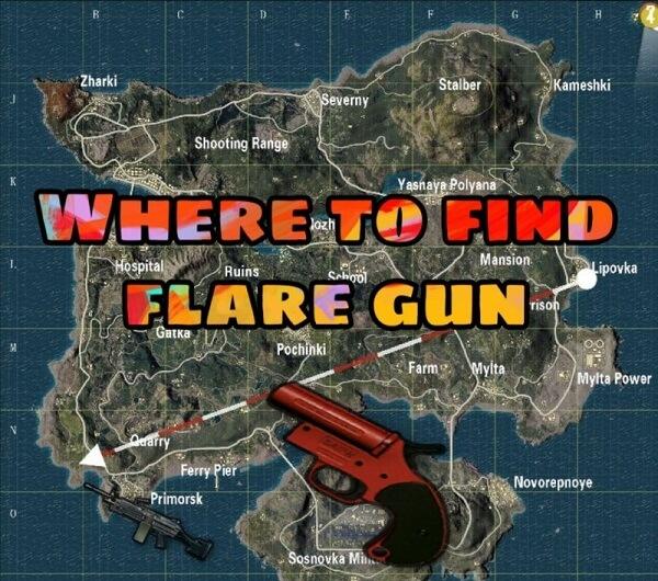 where to find flare gun in pubg mobile erangel