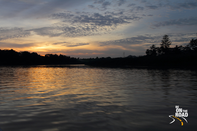 Sunset colors in the Kinabatangan wildlife sanctuary, Sabah, Malaysia
