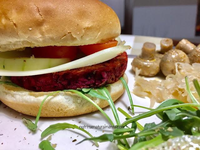 hamburguesa de remolacha en bocata