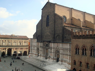 The unfinished facade of the Basilica di San Petronio, one of Europe's largest churches