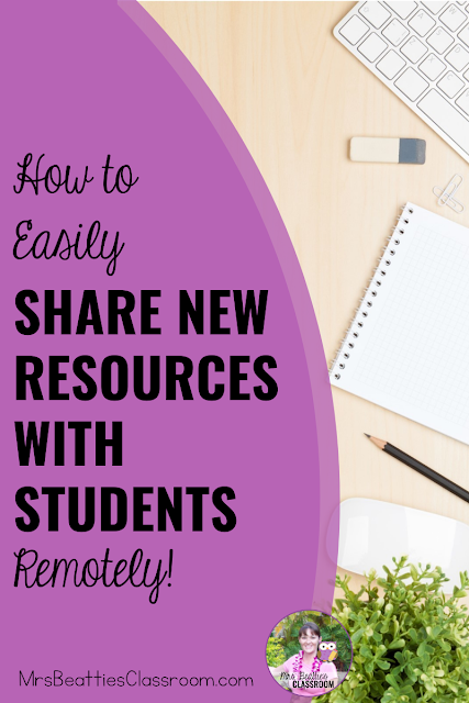 "Photo of desktop with text, ""How to Easily Share New Resources With Students Remotely."""
