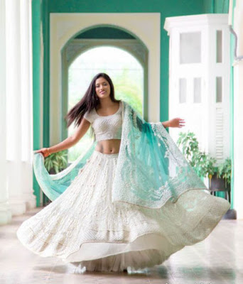 Stunning Photo Of Beautiful Indian Bride In Blue And White Coral Lehenga.