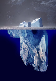 Iceberg part submerged in the sea