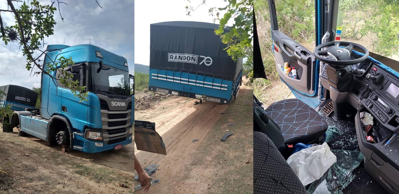 Scania R450 e Carreta nova têm todos os pneus roubados na Bahia