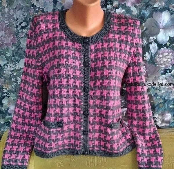 sweter w pepitkę ze wzorem
