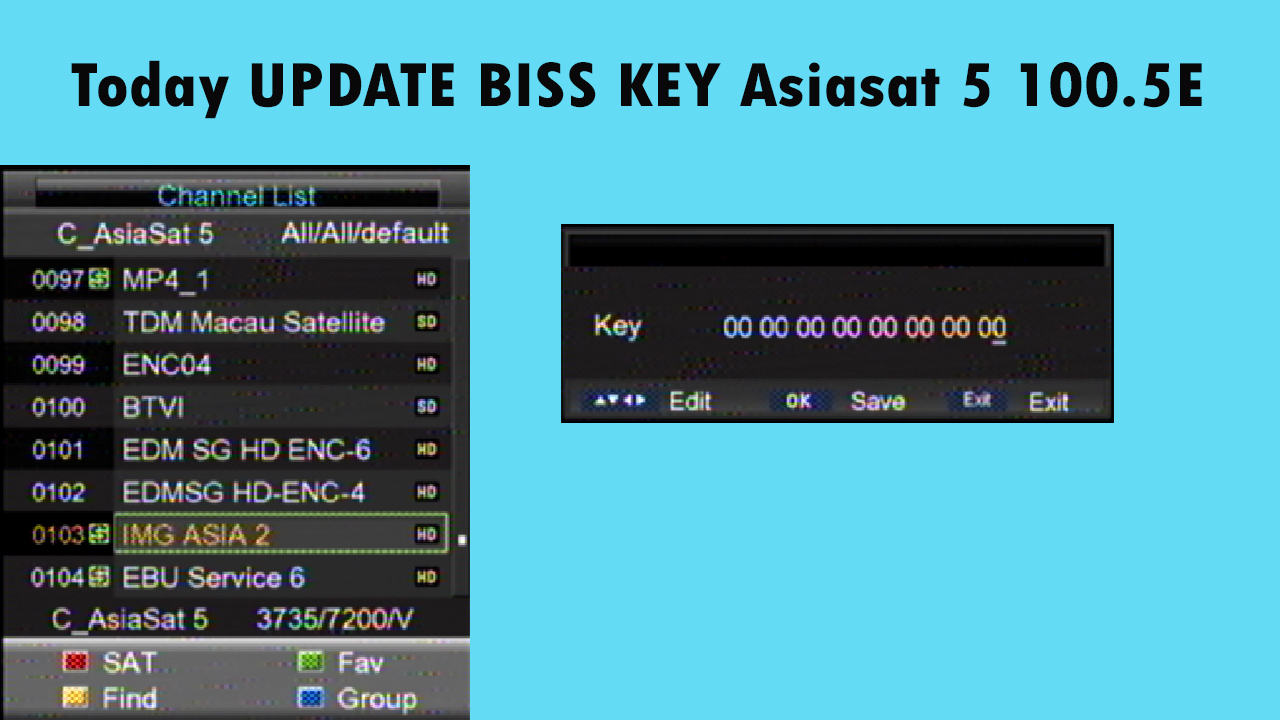 Today UPDATE BISS KEY Asiasat 5 100 5E 17-06-2019 - make