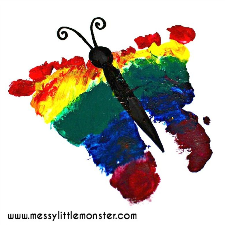 Spring crafts for kids - rainbow footprint butterfly craft