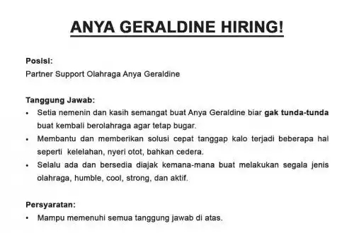Anya Geraldine Lagi Buka Lowongan Kerja, Netizen Ramai-Ramai Pengin Resign