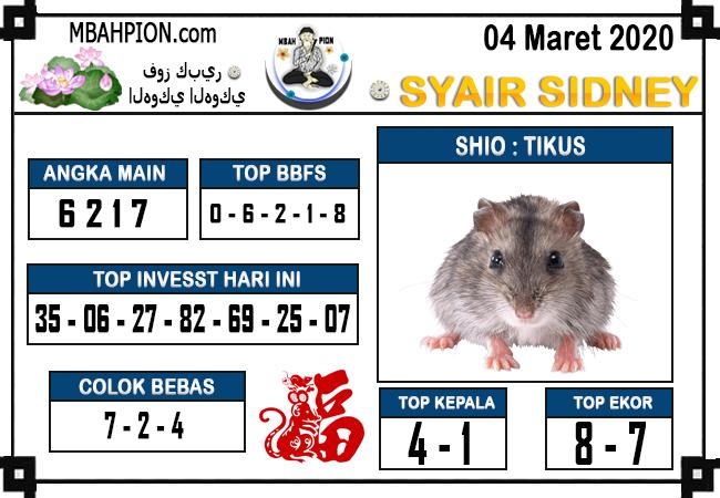 Prediksi Togel JP Sidney Rabu 04 Maret 2020 - Syair Mbah Pion