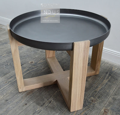 Ronde Scandinave Industriel Style Table Basse thCsQrd