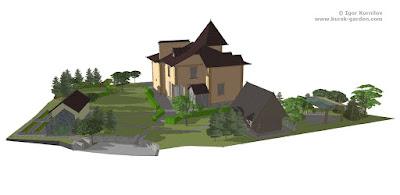 Планировка сада, предварительный план в 3D