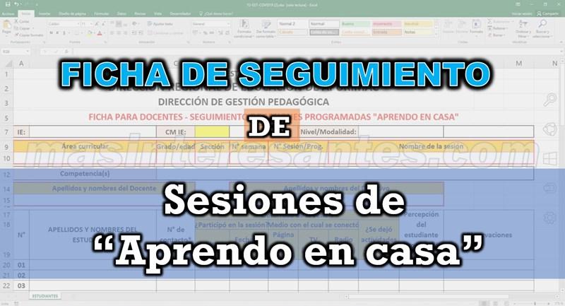 """Ficha de seguimiento y reporte diario de sesiones """"Aprendo en casa"""""""