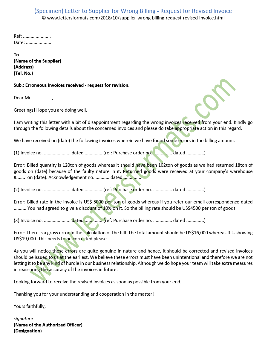 letter to supplier for wrong billing