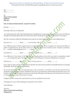 Letter to Supplier for Wrong Billing - Request for Revised Invoice (Sample)